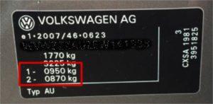VW - VAG Stelplade til aksellast