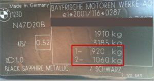 BMW Stelplade til Aksellast / Akseltryk