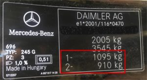 Mercedes stelplade der angiver bilens aksellast / akseltryk