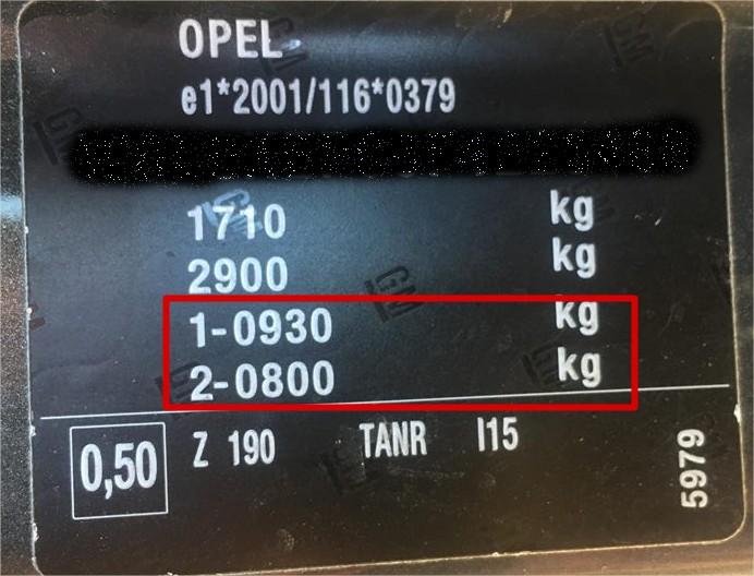 Opel stelplade der angiver bilens aksellast / akseltryk