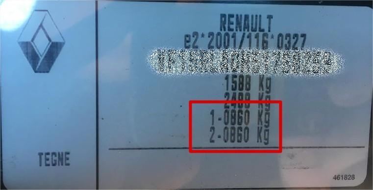 Renault stelplade til at finde aksellast