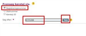 Søg på nummerplade på SKAT hjemmeside