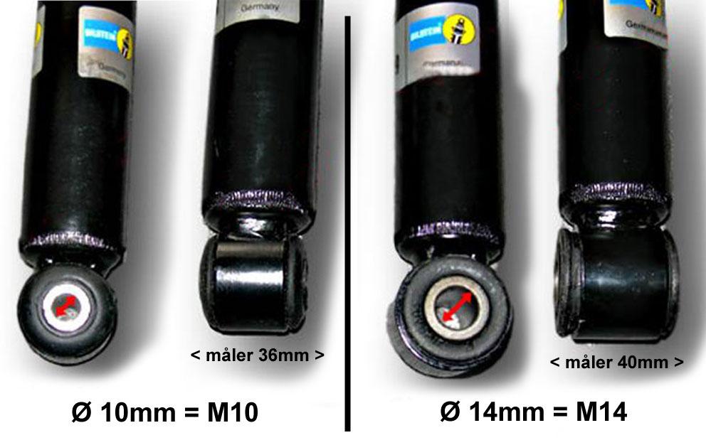 Gevind diameter til Opel Bagstøddæmper